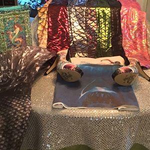 Mermaid Showtime w Tails, leggings, purses, heels